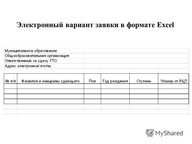 Электронный вариант заявки в формате Excel
