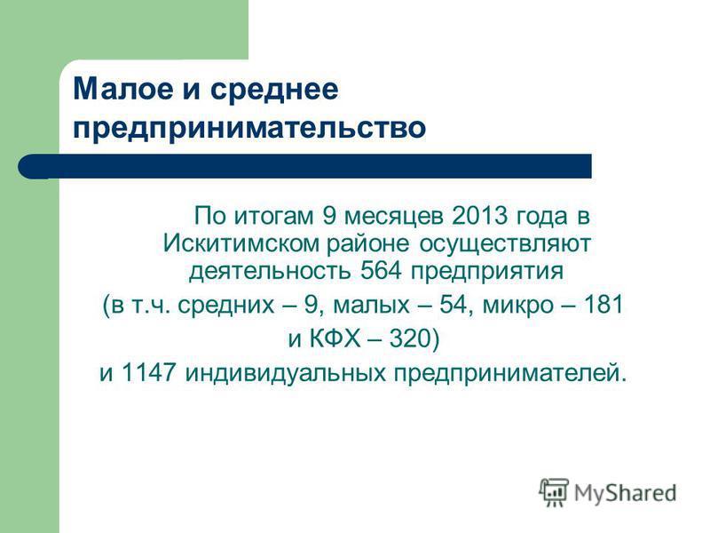 По итогам 9 месяцев 2013 года в Искитимском районе осуществляют деятельность 564 предприятия (в т.ч. средних – 9, малых – 54, микро – 181 и КФХ – 320) и 1147 индивидуальных предпринимателей. Малое и среднее предпринимательство