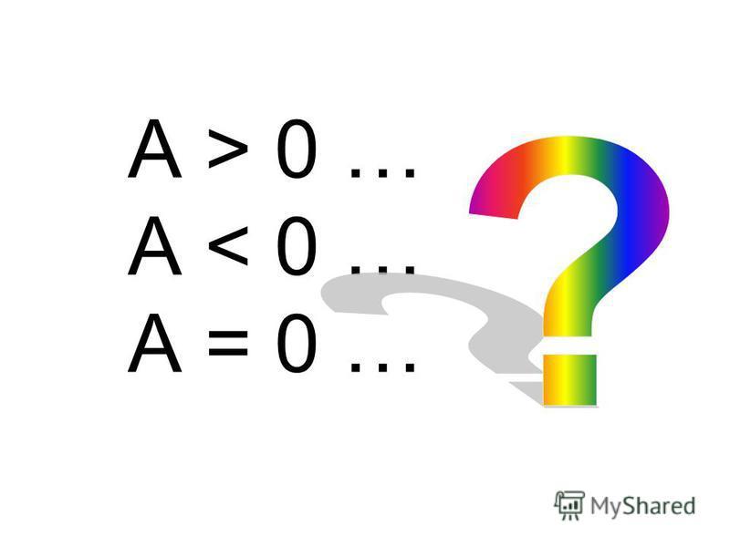 A > 0 … A < 0 … A = 0 …