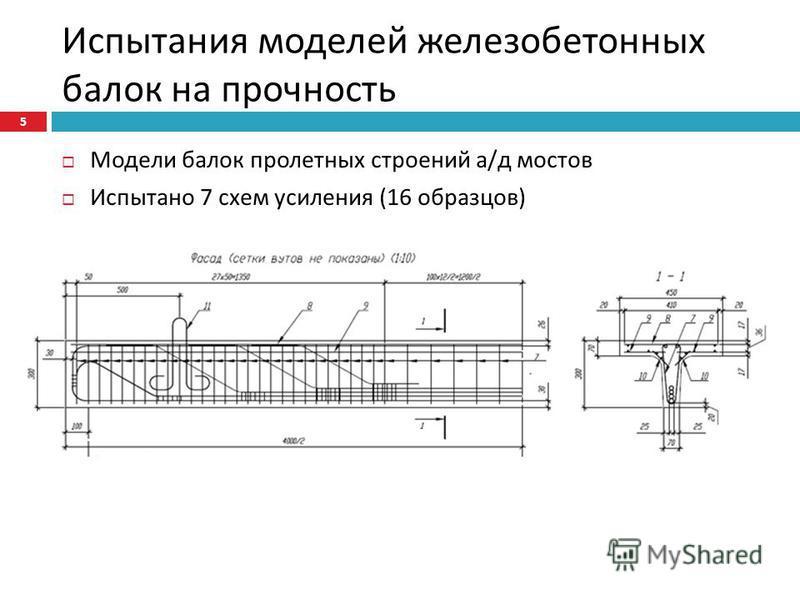 Испытания моделей железобетонных балок на прочность Модели балок пролетных строений а / д мостов Испытано 7 схем усиления (16 образцов ) 5