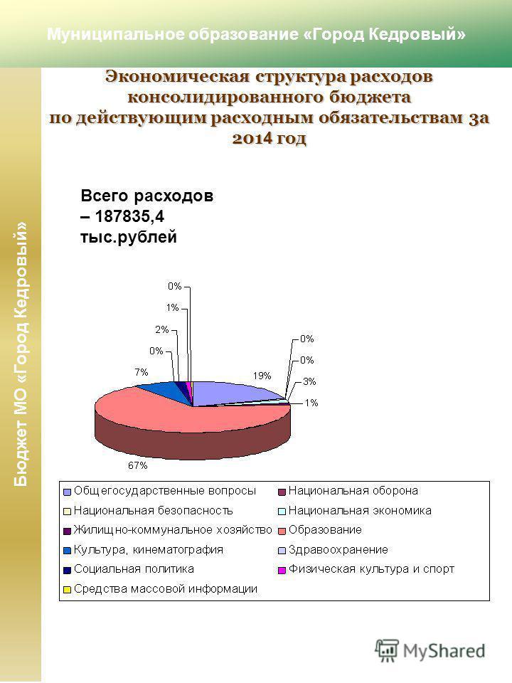 Всего расходов – 187835,4 тыс.рублей Экономическая структура расходов консолидированного бюджета по действующим расходным обязательствам 3 а 201 4 год Муниципальное образование «Город Кедровый» Бюджет МО «Город Кедровый»