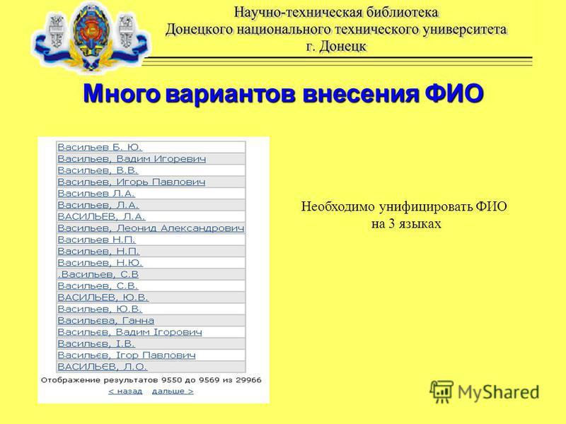 Много вариантов внесения ФИО Необходимо унифицировать ФИО на 3 языках