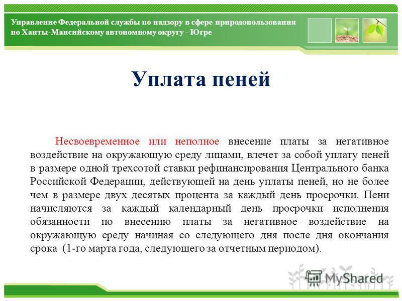 www.themegallery.com Управление Федеральной службы по надзору в сфере природопользования по Ханты-Мансийскому автономному округу - Югре Уплата пеней Несвоевременное или неполное внесение платы за негативное воздействие на окружающую среду лицами, вле