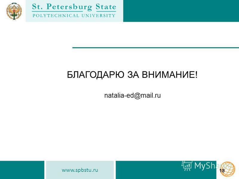 www.spbstu.ru 18 БЛАГОДАРЮ ЗА ВНИМАНИЕ! natalia-ed@mail.ru