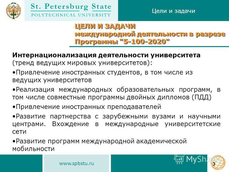 www.spbstu.ru Цели и задачи 3 ЦЕЛИ И ЗАДАЧИ международной деятельности в разрезе Программы
