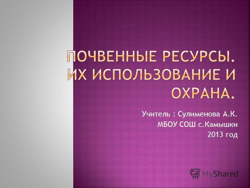 Учитель : Сулименова А.К. МБОУ СОШ с.Камышки 2013 год
