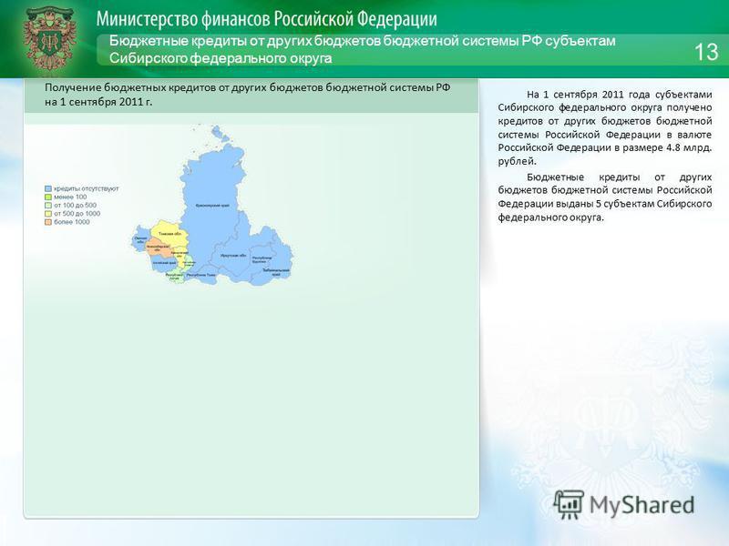 Бюджетные кредиты от других бюджетов бюджетной системы РФ субъектам Сибирского федерального округа На 1 сентября 2011 года субъектами Сибирского федерального округа получено кредитов от других бюджетов бюджетной системы Российской Федерации в валюте