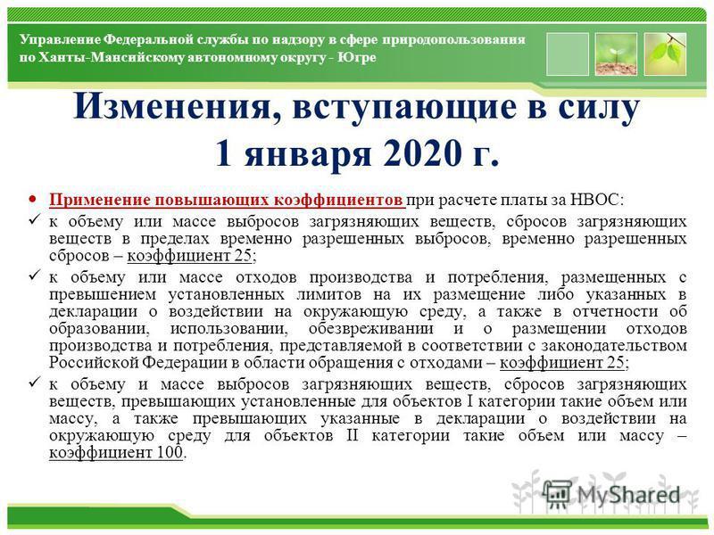 www.themegallery.com Управление Федеральной службы по надзору в сфере природопользования по Ханты-Мансийскому автономному округу - Югре Изменения, вступающие в силу 1 января 2020 г. Применение повышающих коэффициентов при расчете платы за НВОС: к объ