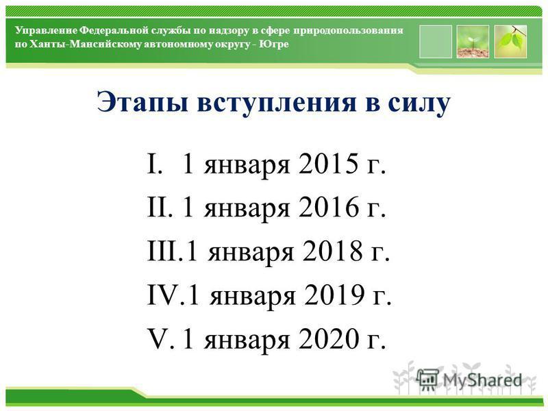 www.themegallery.com Управление Федеральной службы по надзору в сфере природопользования по Ханты-Мансийскому автономному округу - Югре Этапы вступления в силу I.1 января 2015 г. II.1 января 2016 г. III.1 января 2018 г. IV.1 января 2019 г. V.1 января