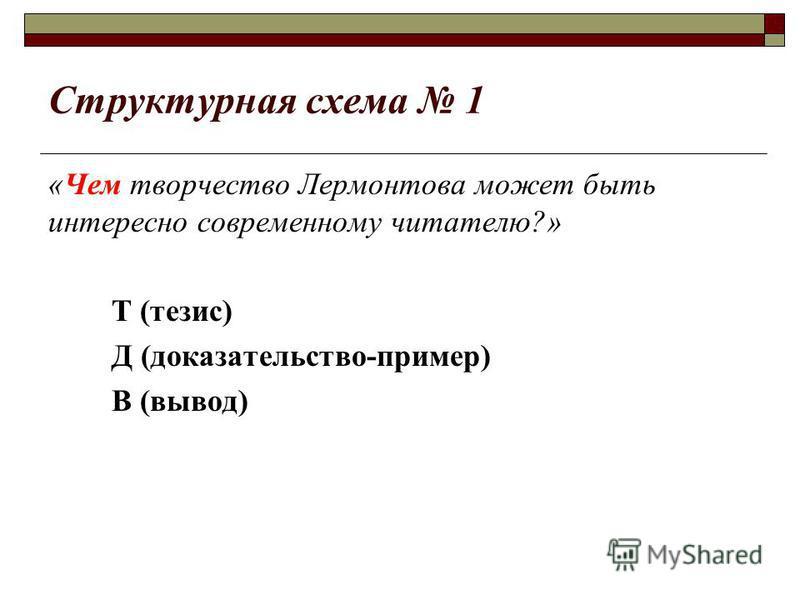 Структурная схема 1 «Чем творчество Лермонтова может быть интересно современному читателю?» Т (тезис) Д (доказательство-пример) В (вывод)