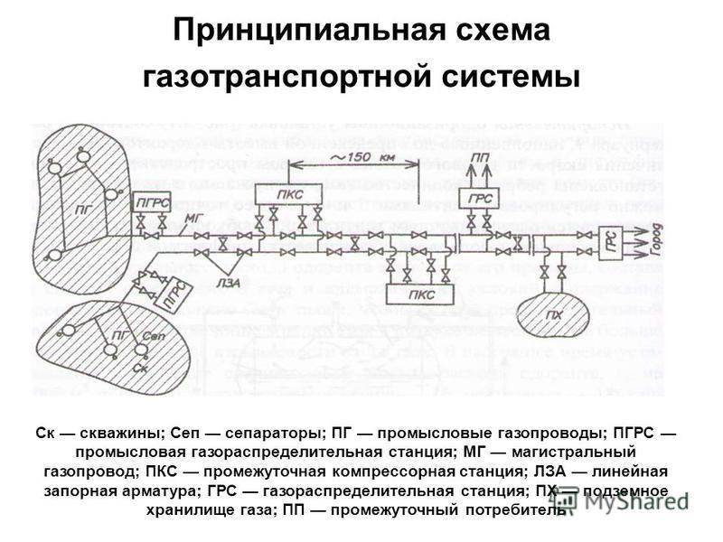Принципиальная схема газотранспортной системы Ск скважины; Сеп сепараторы; ПГ промысловые газопроводы; ПГРС промысловая газораспределительная станция; МГ магистральный газопровод; ПКС промежуточная компрессорная станция; ЛЗА линейная запорная армату