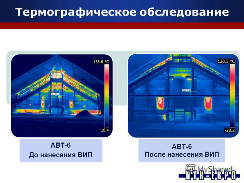 Термографическое обследование АВТ-6 До нанесения ВИП АВТ-6 После нанесения ВИП