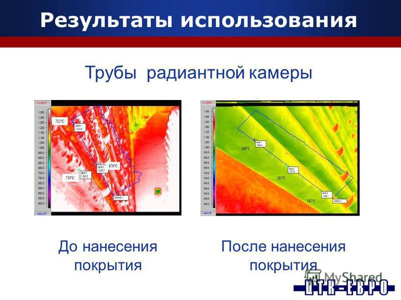 Результаты использования Трубы радиантной камеры До нанесения покрытия После нанесения покрытия