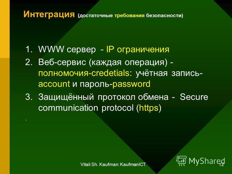Vitali Sh. Kaufman: KaufmanICT 12 Интеграция (достаточные требования безопасности) 1. WWW сервер - IP ограничения 2.Веб-сервис (каждая операция) - полномочия-credetials: учётная запись- account и пароль-password 3.Защищённый протокол обмена - Secure