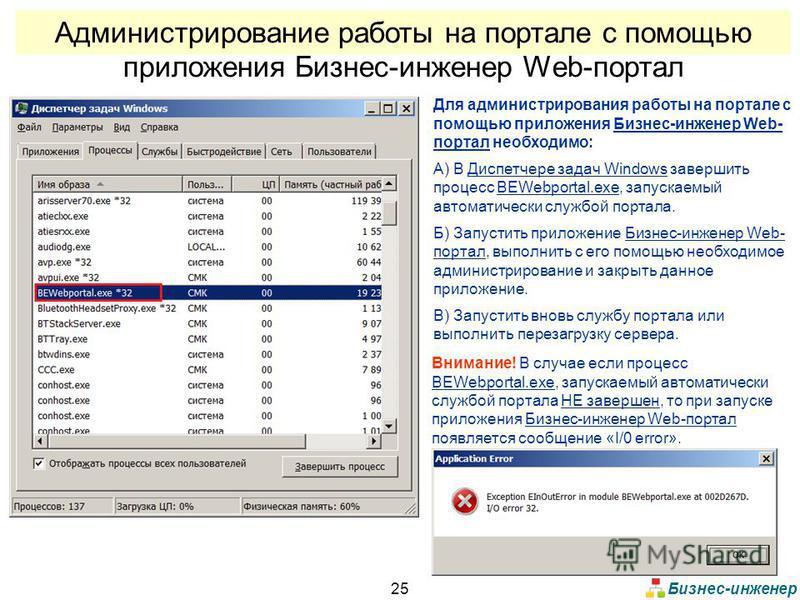Бизнес-инженер 25 Администрирование работы на портале с помощью приложения Бизнес-инженер Web-портал Для администрирования работы на портале с помощью приложения Бизнес-инженер Web- портал необходимо: А) В Диспетчере задач Windows завершить процесс B