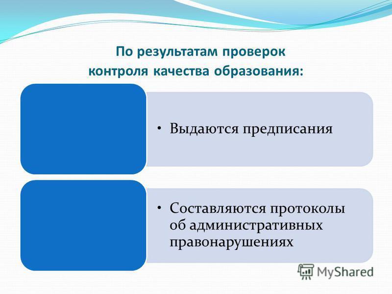 По результатам проверок контроля качества образования: Выдаются предписания Составляются протоколы об административных правонарушениях