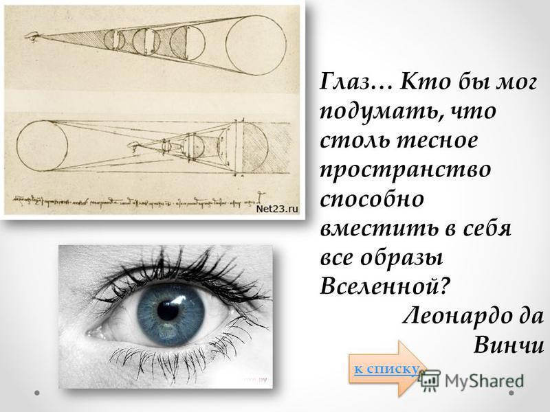 Глаз… Кто бы мог подумать, что столь тесное пространство способно вместить в себя все образы Вселенной? Леонардо да Винчи к списку