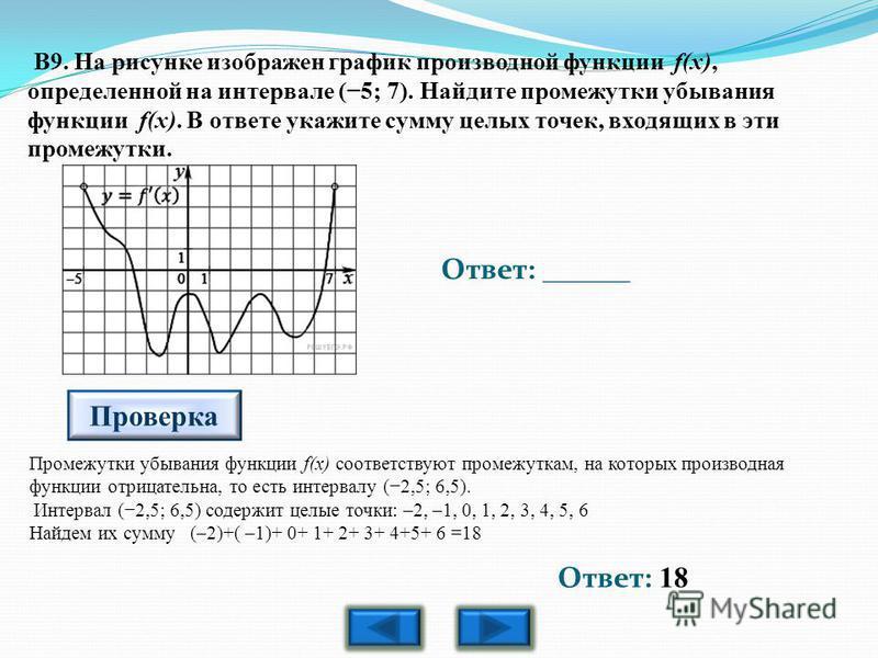 B9. На рисунке изображен график производной функции f(x), определенной на интервале (5; 7). Найдите промежутки убывания функции f(x). В ответе укажите сумму целых точек, входящих в эти промежутки. Ответ: ______ Проверка Ответ: 18 Промежутки убывания