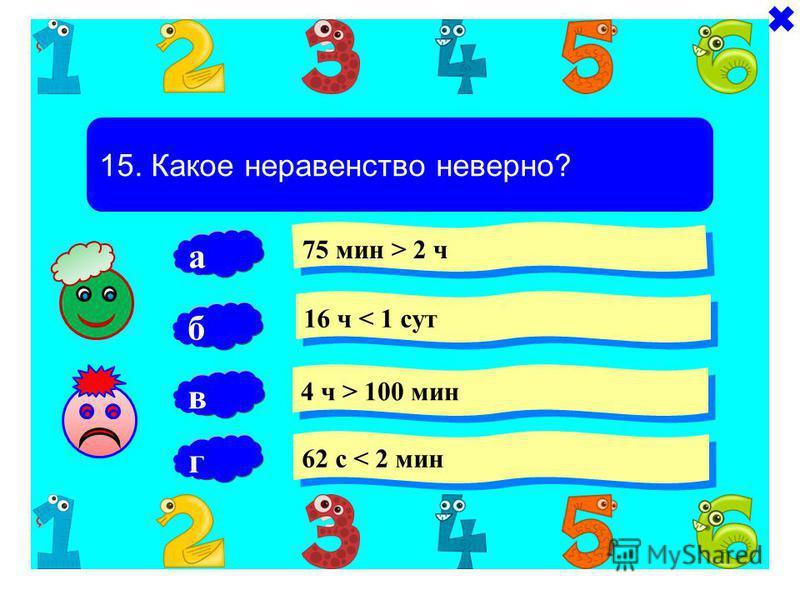 15. Какое неравенство неверно? 75 мин > 2 ч 16 ч < 1 сут 4 ч > 100 мин б 62 с < 2 мин а в г