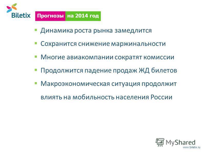 www.biletix.ru Динамика роста рынка замедлится Сохранится снижение маржинальности Многие авиакомпании сократят комиссии Продолжится падение продаж ЖД билетов Макроэкономическая ситуация продолжит влиять на мобильность населения России на 2014 год Про