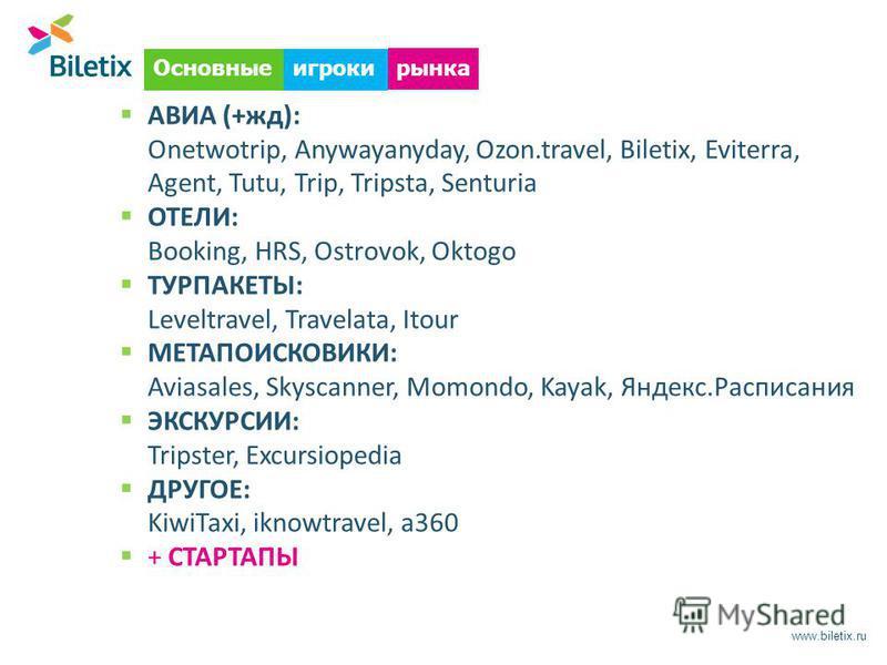 www.biletix.ru АВИА (+жд): Onetwotrip, Anywayanyday, Ozon.travel, Biletix, Eviterra, Agent, Tutu, Trip, Tripsta, Senturia ОТЕЛИ: Booking, HRS, Ostrovok, Oktogo ТУРПАКЕТЫ: Leveltravel, Travelata, Itour МЕТАПОИСКОВИКИ: Aviasales, Skyscanner, Momondo, K