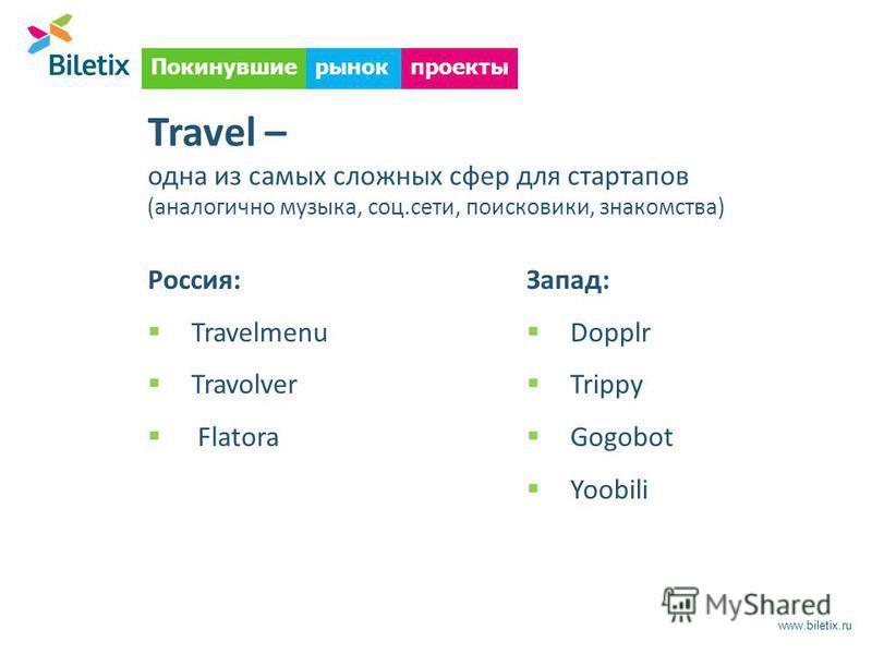 www.biletix.ru Покинувшиепроектырынок Travel – одна из самых сложных сфер для стартапов (аналогично музыка, соц.сети, поисковики, знакомства) Запад: Dopplr Trippy Gogobot Yoobili Россия: Travelmenu Travolver Flatora
