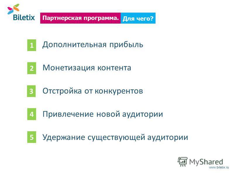 www.biletix.ru Для чего? Партнерская программа. Дополнительная прибыль Монетизация контента Отстройка от конкурентов 1 2 3 4 Привлечение новой аудитории 5 Удержание существующей аудитории