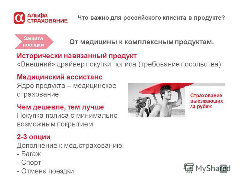 6060 Что важно для российского клиента в продукте? От медицины к комплексным продуктам. Исторически навязанный продукт «Внешний» драйвер покупки полиса (требование посольства) Медицинский ассистанс Ядро продукта – медицинское страхование Чем дешевле,