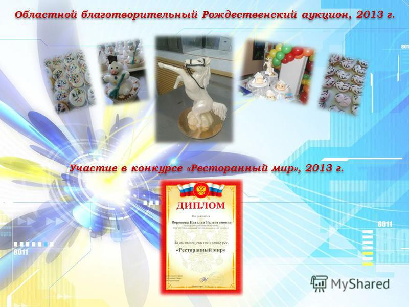 Областной благотворительный Рождественский аукцион, 2013 г. Участие в конкурсе «Ресторанный мир», 2013 г.