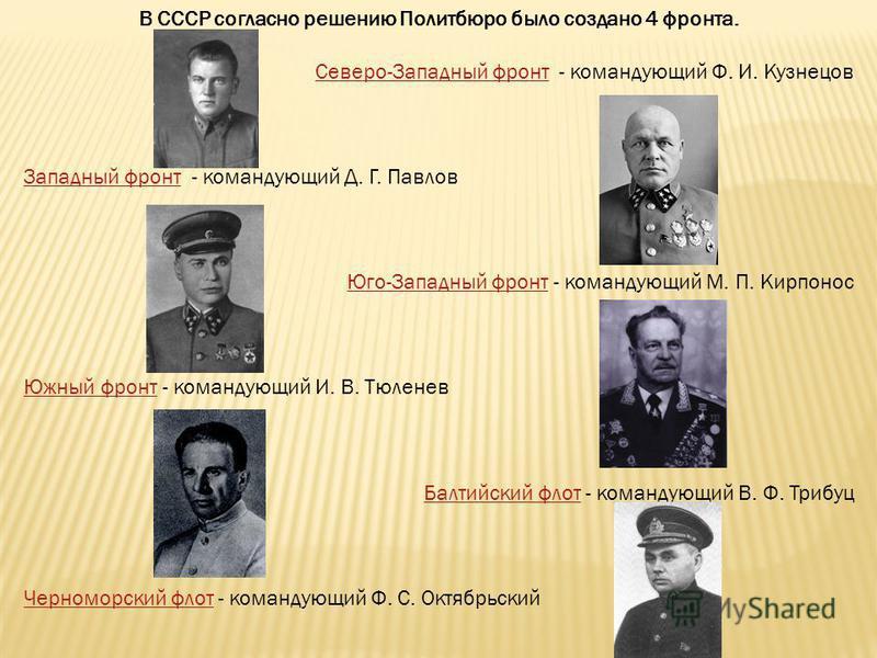В СССР согласно решению Политбюро было создано 4 фронта. Северо-Западный фронт Северо-Западный фронт - командующий Ф. И. Кузнецов Западный фронт Западный фронт - командующий Д. Г. Павлов Юго-Западный фронт Юго-Западный фронт - командующий М. П. Кирпо