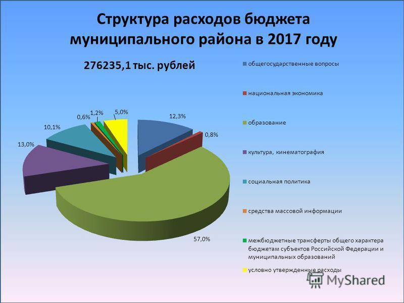 Структура расходов бюджета муниципального района в 2017 году