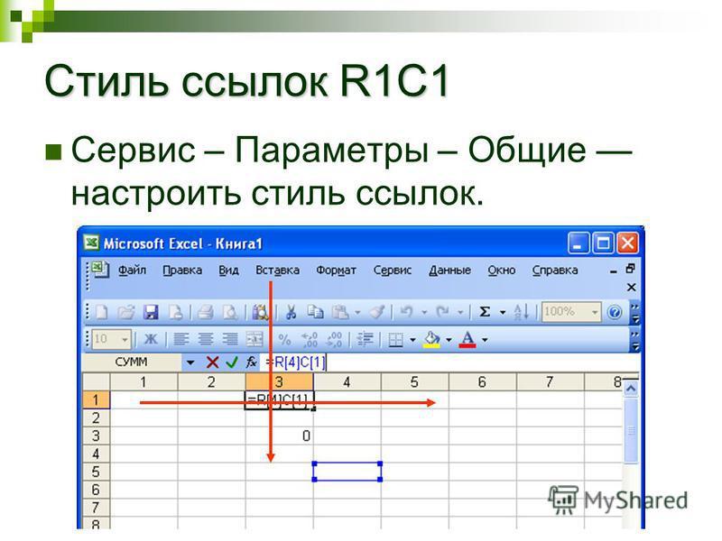 Стиль ссылок R1C1 Сервис – Параметры – Общие настроить стиль ссылок.