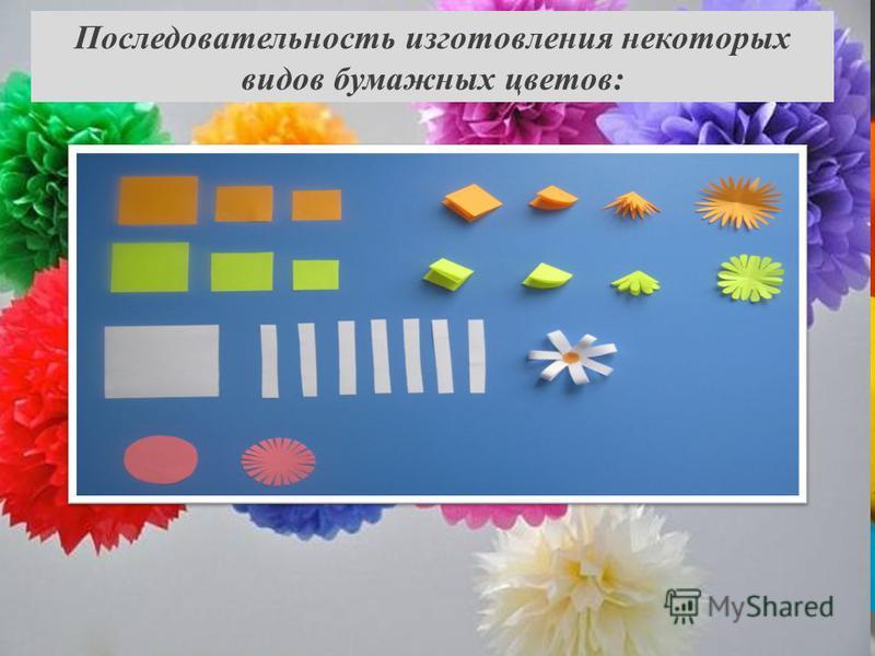 Последовательность изготовления некоторых видов бумажных цветов: