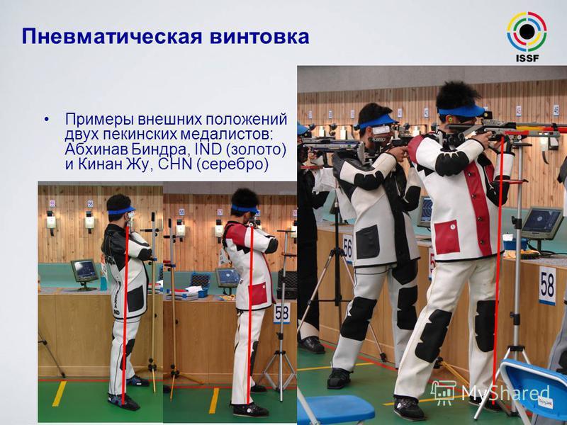 Пневматическая винтовка Примеры внешних положений двух пекинских медалистов: Абхинав Биндра, IND (золото) и Кинан Жу, CHN (серебро)