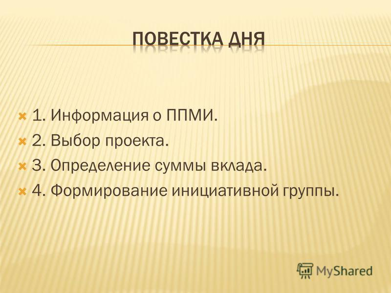 1. Информация о ППМИ. 2. Выбор проекта. 3. Определение суммы вклада. 4. Формирование инициативной группы.