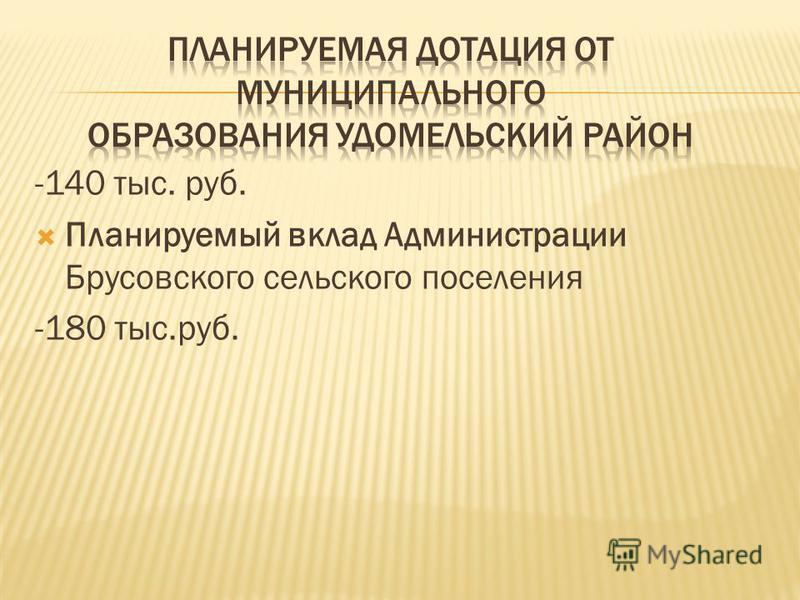 -140 тыс. руб. Планируемый вклад Администрации Брусовского сельского поселения -180 тыс.руб.