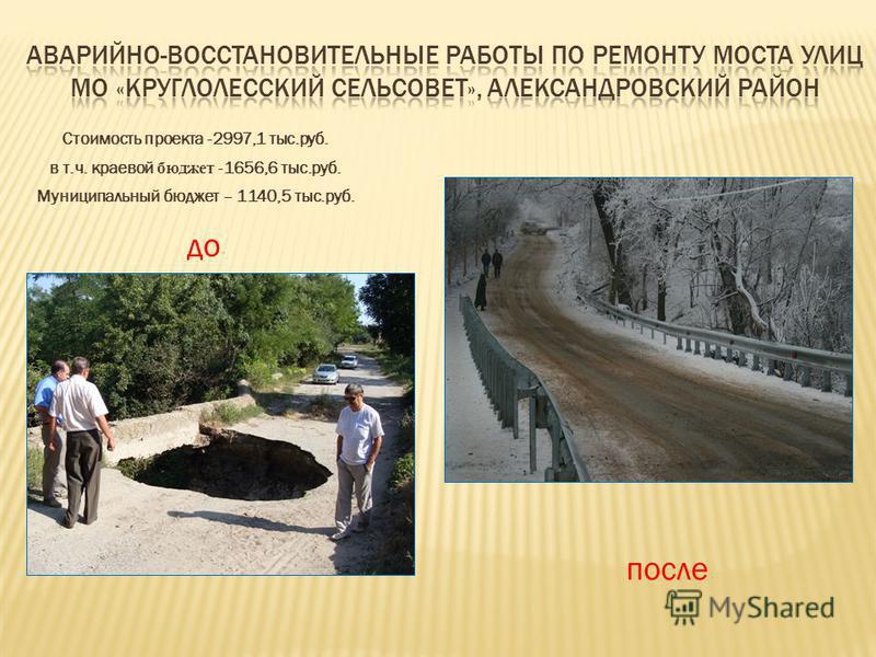 Стоимость проекта -2997,1 тыс.руб. в т.ч. краевой бюджет -1656,6 тыс.руб. Муниципальный бюджет – 1140,5 тыс.руб. до после