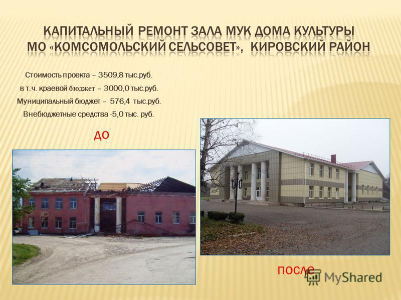 Стоимость проекта – 3509,8 тыс.руб. в т.ч. краевой бюджет – 3000,0 тыс.руб. Муниципальный бюджет – 576,4 тыс.руб. Внебюджетные средства -5,0 тыс. руб. до после