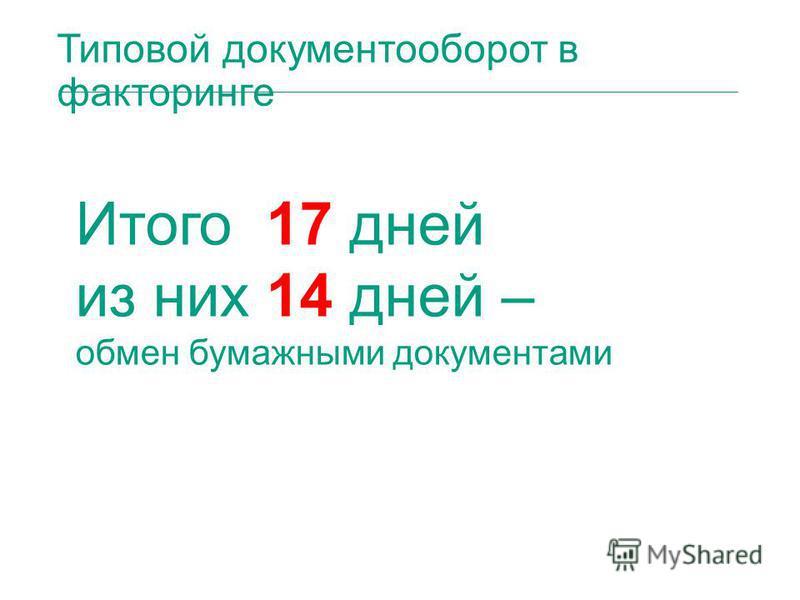 Типовой документооборот в факторинге Итого 17 дней из них 14 дней – обмен бумажными документами