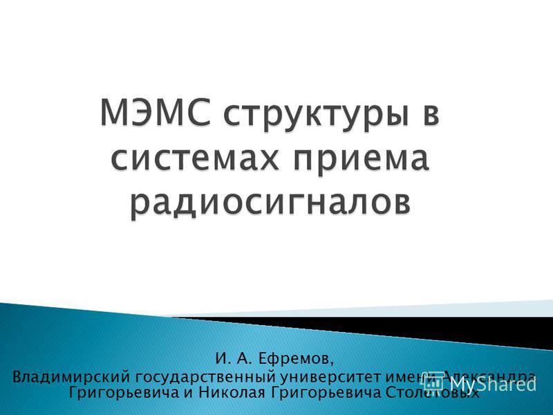 И. А. Ефремов, Владимирский государственный университет имени Александра Григорьевича и Николая Григорьевича Столетовых