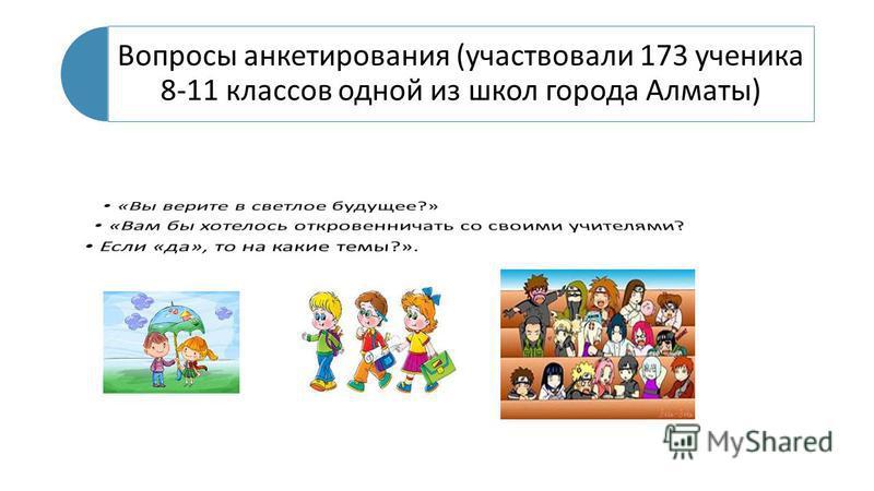 Вопросы анкетирования (участвовали 173 ученика 8-11 классов одной из школ города Алматы)