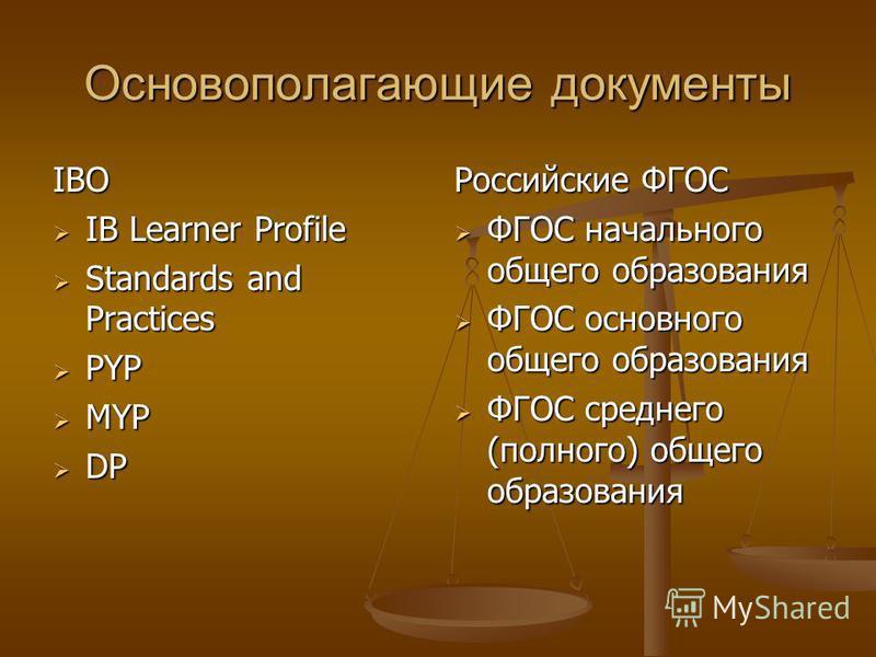 Основополагающие документы IBO IB Learner Profile IB Learner Profile Standards and Practices Standards and Practices PYP PYP MYP MYP DP DP Российские ФГОС ФГОС начального общего образования ФГОС основного общего образования ФГОС среднего (полного) об