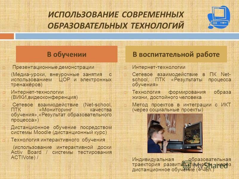 Презентационные демонстрации (Медиа-уроки, внеурочные занятия с использованием ЦОР и электронных тренажёров) Интернет-технологии (ВИКИ,видеоконференция) Сетевое взаимодействие (Net-school, ПТК «Мониторинг качества обучения»,«Результат образовательног