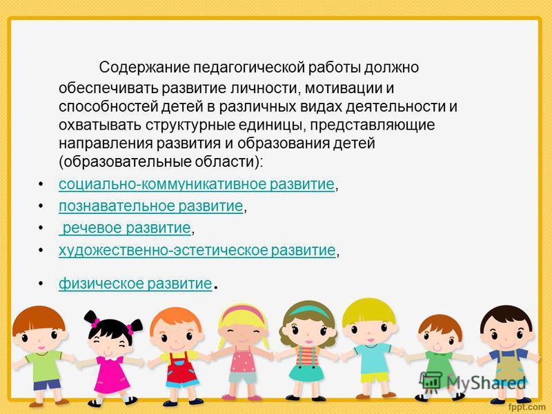 Содержание педагогической работы должно обеспечивать развитие личности, мотивации и способностей детей в различных видах деятельности и охватывать структурные единицы, представляющие направления развития и образования детей (образовательные области):
