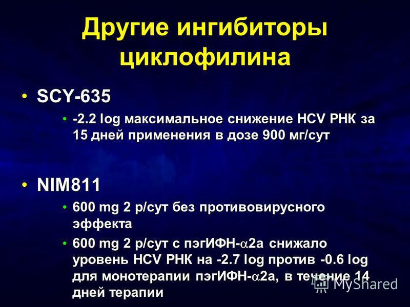 Другие ингибиторы циклофилина SCY-635SCY-635 -2.2 log максимальное снижение HCV РНК за 15 дней применения в дозе 900 мг/сут -2.2 log максимальное снижение HCV РНК за 15 дней применения в дозе 900 мг/сут NIM811NIM811 600 mg 2 р/сут без противовирусног