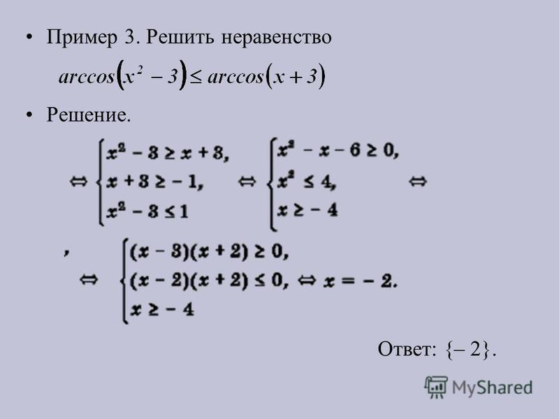 Пример 3. Решить неравенство Решение. Ответ: {– 2}.