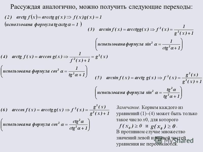 Рассуждая аналогично, можно получить следующие переходы: Замечание. Корнем каждого из уравнений (1)–(4) может быть только такое число x0, для которого и. В противном случае множество значений левой и правой частей уравнения не пересекаются.