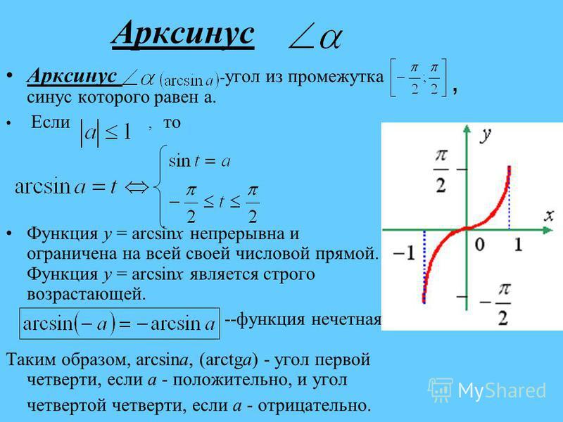 Арксинас Арксинас - угол из промежутка синас которого равен а. Если, то Функция y = arcsinx непрерывна и ограничена на всей своей числовой прямой. Функция y = arcsinx является строго возрастающей. --функция нечетная Таким образом, arcsina, (arctga) -