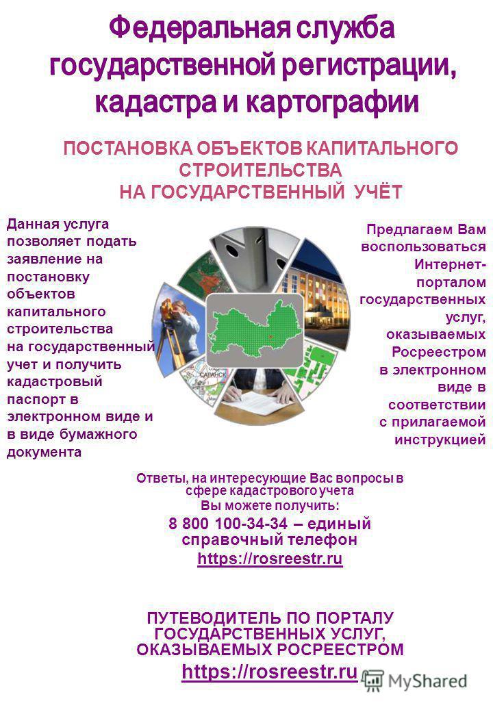 Ответы, на интересующие Вас вопросы в сфере кадастрового учета Вы можете получить: 8 800 100-34-34 – единый справочный телефон https://rosreestr.ru ПУТЕВОДИТЕЛЬ ПО ПОРТАЛУ ГОСУДАРСТВЕННЫХ УСЛУГ, ОКАЗЫВАЕМЫХ РОСРЕЕСТРОМ https://rosreestr.ru ПОСТАНОВКА