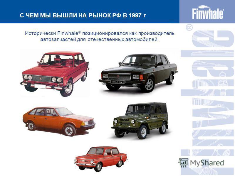 С ЧЕМ МЫ ВЫШЛИ НА РЫНОК РФ В 1997 г Исторически Finwhale ® позиционировался как производитель автозапчастей для отечественных автомобилей.